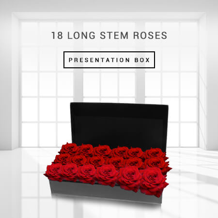 Image of 18 Long Stem Roses Presentation Box Flowers